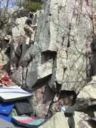 Rock Climbing Photo: Aaron on Small Pad Complex.  Starts under the roof...