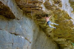 Rock Climbing Photo: In the midst of the crux. Excellent boulder proble...