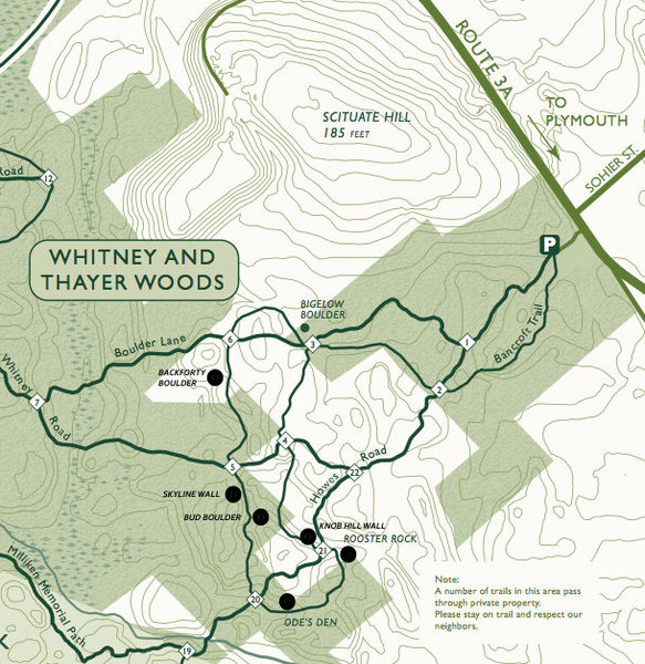 Trail map with boulders marked.