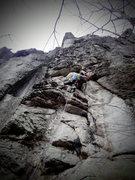 "Rock Climbing Photo: Chuck Drew on ""Plumbago"" 5.10a."