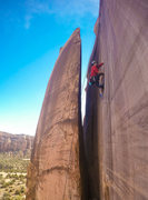 Rock Climbing Photo: Heading up to clean the anchor. This route was my ...