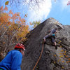"""James Puckett on """"Bemis"""" 5.10d, a fun arete much more difficult than it looks."""