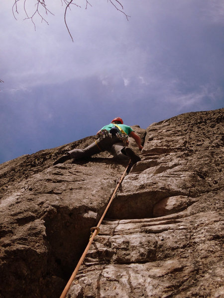 """Charles Drew on """"Ghost,"""" a classic hand-crack that is listed as 5.9+.  It is short (50 feet) but strenuous."""