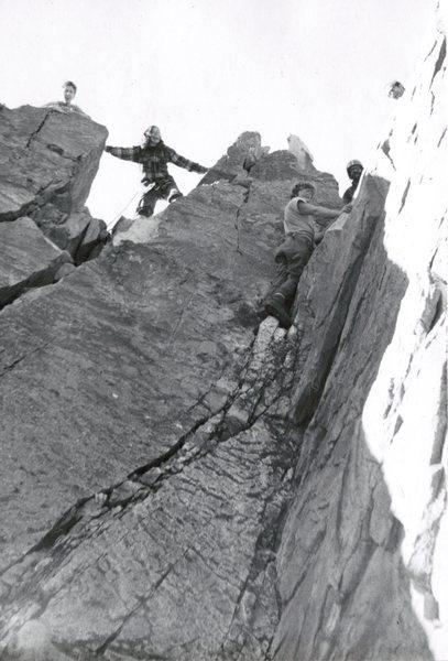 John Shirley and crew climbing on Shark Fin. Photo courtesy of John Shirley collection.