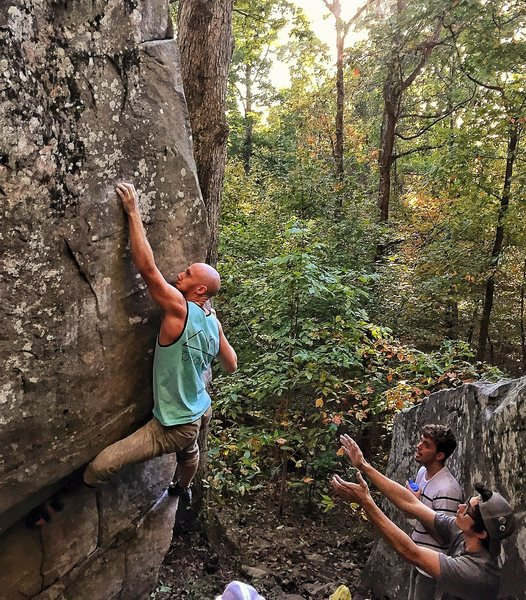Rock Climbing Photo: Pulling hard on that final crimp before the big mo...