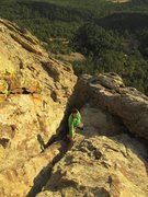 Rock Climbing Photo: Max near topping out just after sunrise.