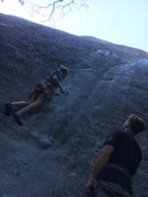 Rock Climbing Photo: Starting this rad line in the valley, 3 bolts to a...