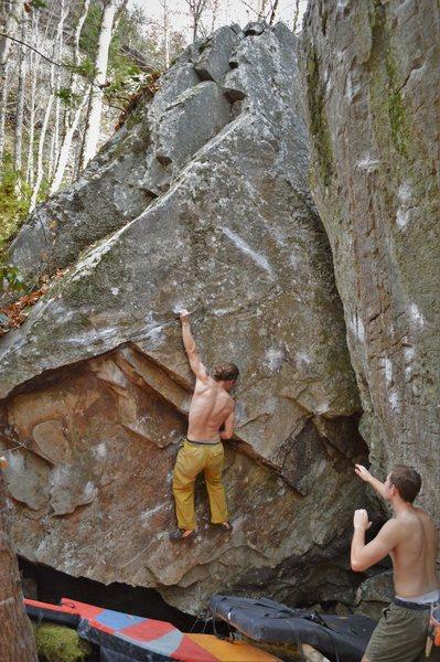 Marshall on Katana (left hand crimping the sharp iron edge off the undercling).