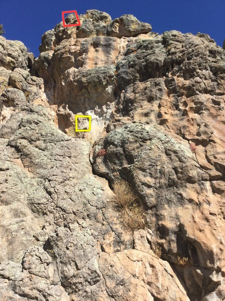 This is a close-up pic of &quot@SEMICOLON@Pie in Your Eyes&quot@SEMICOLON@ (listed as climb @POUND@6 in the beta photo of the crag) which is a fun and easy 5.6.  Great route to lead for new leaders.  If you continue climbing above the chains (it is bolted) you will be climbing &quot@SEMICOLON@Filet On&quot@SEMICOLON@ which is a 5.11 to the top.