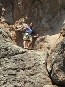 Rock Climbing Photo: Christian on the ledge at the top of Pie In Your E...
