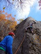Rock Climbing Photo: James Puckett on Bemis, 5.10d