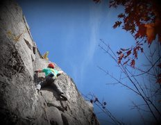 Rock Climbing Photo: Chuck Drew working out the crux of Winter is Comin...