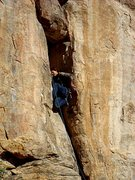 Rock Climbing Photo: Getting through the small chimney on Solar E-clips...