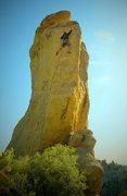 Leading Golden Egg, 5.9 classic on the Goosehead of Mt. Lemmon
