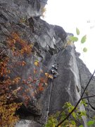 Rock Climbing Photo: Ben Smith cleaning Entrance Crack on lead.  Thanks...
