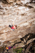 This super high left foot and a knee bar during lock-off made the crux a lot easier for me.  Photo: Dan Brayack.