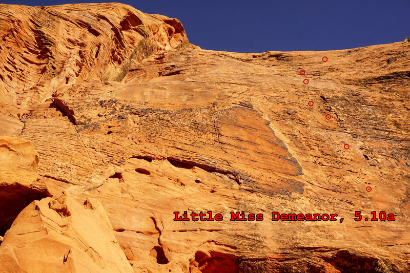 Little Miss Demeanor. 5.10a. First pitch marked.