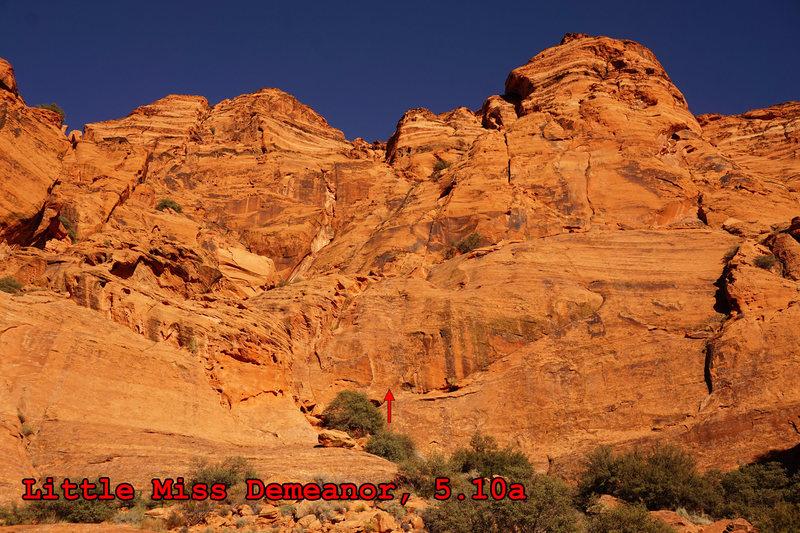 Rock Climbing Photo: Little Miss Demeanor, 5.10a, start marked.