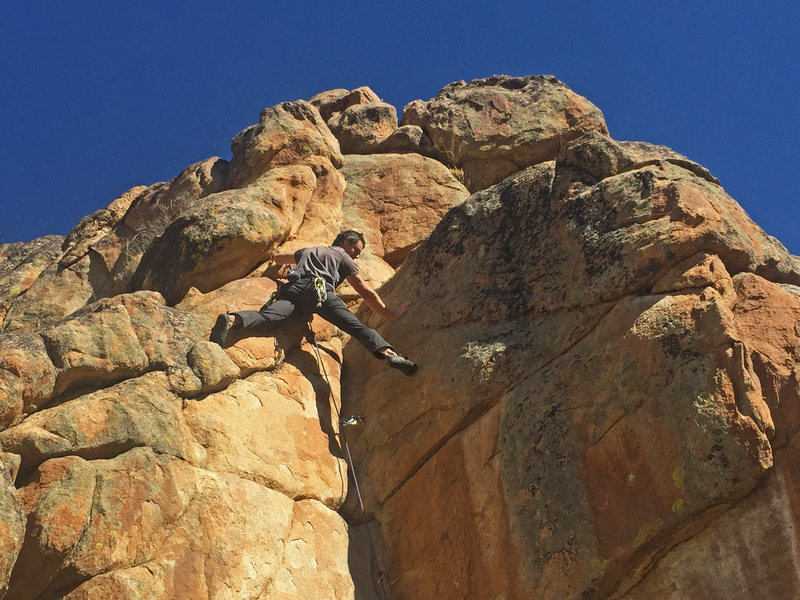 Rock Climbing Photo: Justin leading above the crux.