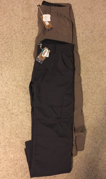 2 Pair - prAna Men&@POUND@39@SEMICOLON@s Stretch Zion Pants - 35x32 - Charcoal and Cargo Green