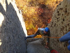 Rock Climbing Photo: Jeremy Robichaud happy to be done with the crux of...