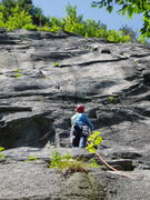 """Rock Climbing Photo: RW looks up at the """"Snakeskins"""" (5.7) cr..."""