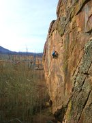 Rock Climbing Photo: Mike Anderson making the FA of the Real Deal (13c?...
