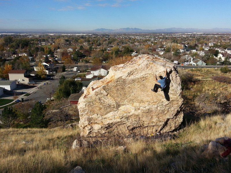 Suburban bouldering in Ogden.
