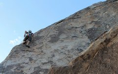 Rock Climbing Photo: Cruising before the long runout to the top