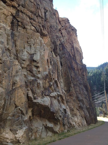 Right side of the crag.