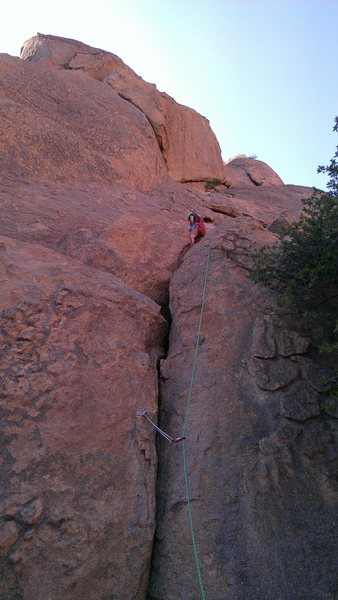 Rock Climbing Photo: Looking up at pitch two