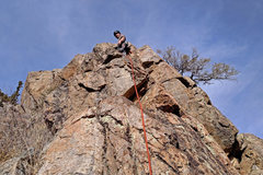 Rock Climbing Photo: Corey Todd on lead, starting up the fun ridge of s...