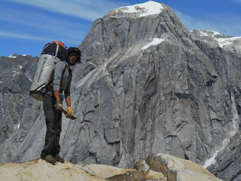 on our way to the south face of the monster, a multiday hike opening trails to climb a 1600m tall granite wall.