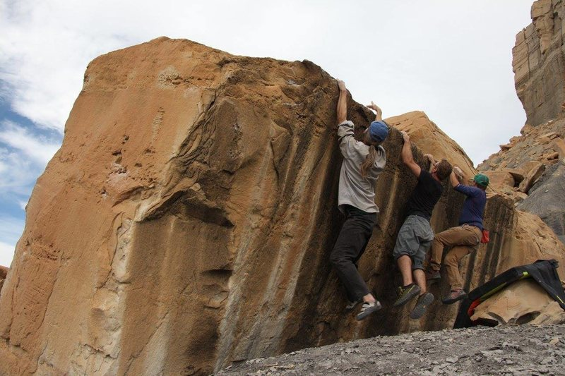The crew does synchronized bouldering performances now.
