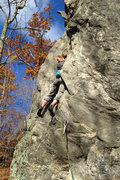 Rock Climbing Photo: Torie getting cozy in the middle of the steep pert...