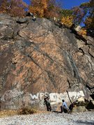 Rock Climbing Photo: At top of Safety Harbor Direct, line runs straight...