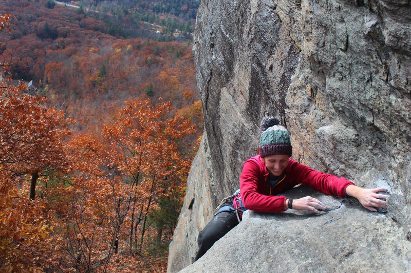 Rock Climbing Photo: the mantle to easier ground