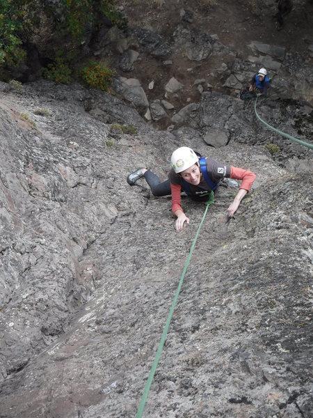 Rock Climbing Photo: Midway up Cleopatra's Crack, still having fun.