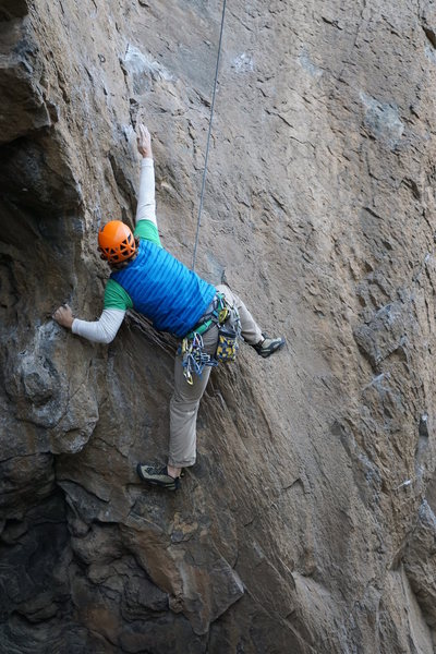 Rock Climbing Photo: Muscling out of the cave.