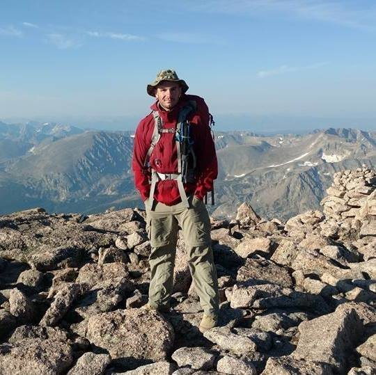 At the top of Longs Peak after doing the Keyhole Route
