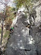 Rock Climbing Photo: View up to the top of Montezuma's Toe. Actuall...