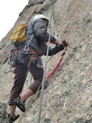 Rock Climbing Photo: Nick replacing the 4th pro bolt on pitch 4.