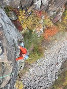 Rock Climbing Photo: Nearing the end of second pitch, with talus slope ...