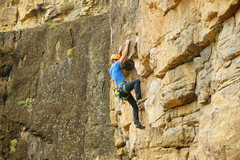 Rock Climbing Photo: Sharp crimp action at the roof.