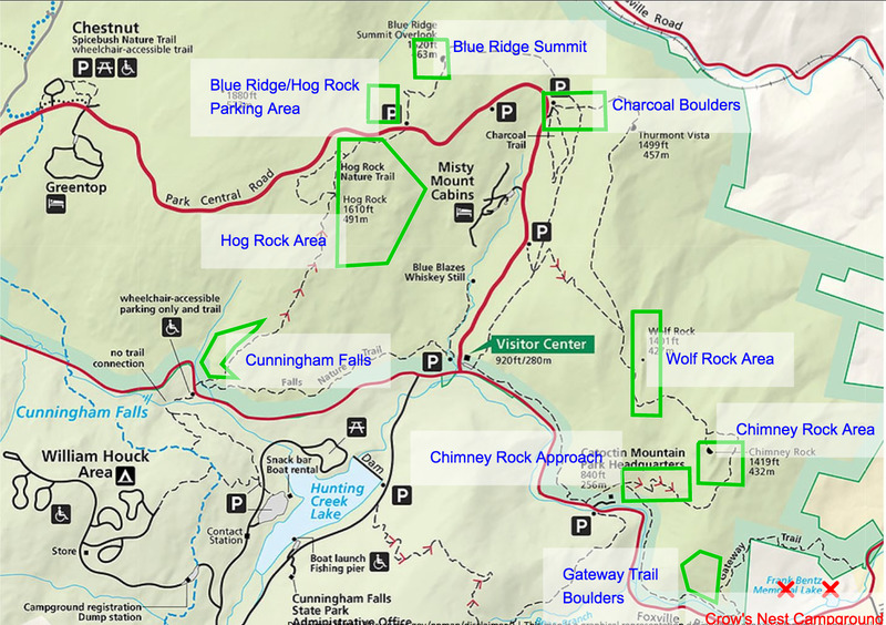 The main climbing areas of Catoctin Mountain Park