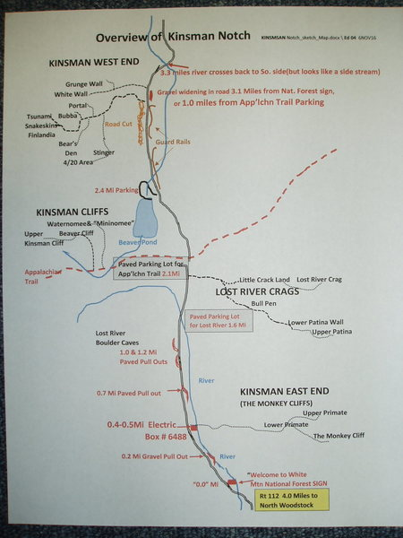 Rock Climbing Photo: Sketch Map of Kinsman Notch