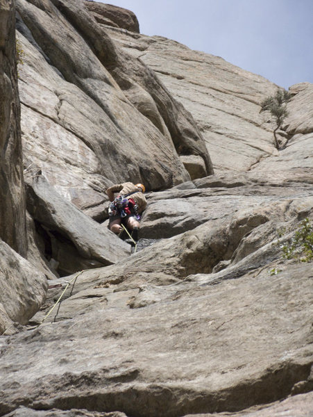 Climbing the first pitch of the standard route