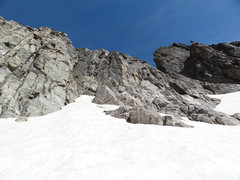 Rock Climbing Photo: The final approach up the snowfield