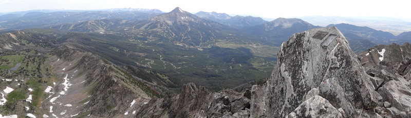Pano from the peak.  Beehive basin on left, Big Sky ski area  in center.