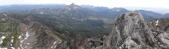Rock Climbing Photo: Pano from the peak.  Beehive basin on left, Big Sk...